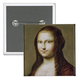 Retrato de una mujer inspirada por la Mona Lisa Pin Cuadrada 5 Cm