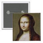 Retrato de una mujer inspirada por la Mona Lisa Pin Cuadrado