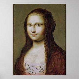 Retrato de una mujer inspirada por la Mona Lisa Póster