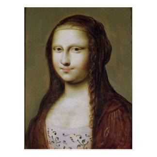 Retrato de una mujer inspirada por la Mona Lisa Tarjetas Postales