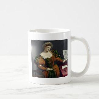 Retrato de una mujer inspirada por la taza de Lucr