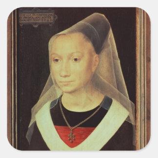 Retrato de una mujer joven, 1480 pegatina cuadrada