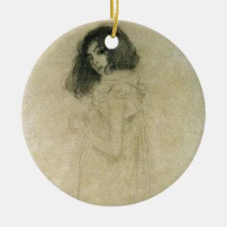 Retrato de una mujer joven, 1896-97 adorno navideño redondo de cerámica