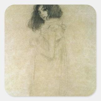 Retrato de una mujer joven, 1896-97 pegatina cuadrada
