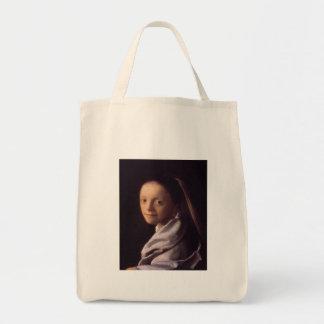 Retrato de una mujer joven bolsa tela para la compra