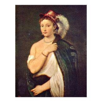 """Retrato de una mujer joven con el gorra de la plum folleto 8.5"""" x 11"""""""