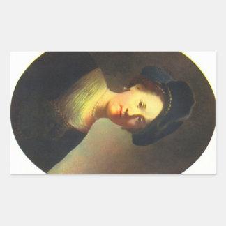 Retrato de una mujer joven con la boina de pegatina rectangular