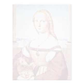 Retrato de una mujer joven con un unicornio membrete