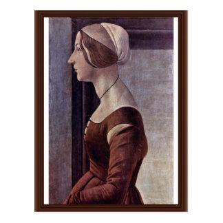 Retrato de una mujer joven de Botticelli Sandro Postal