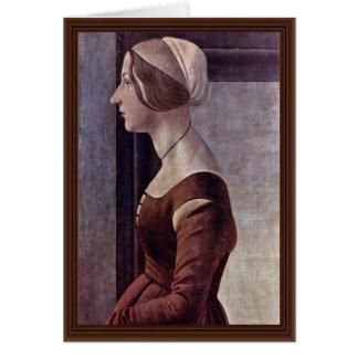 Retrato de una mujer joven de Botticelli Sandro Tarjeta De Felicitación