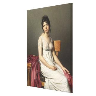 Retrato de una mujer joven en blanco lona estirada galerias