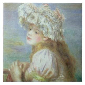 Retrato de una mujer joven en un gorra del cordón, azulejo cuadrado grande
