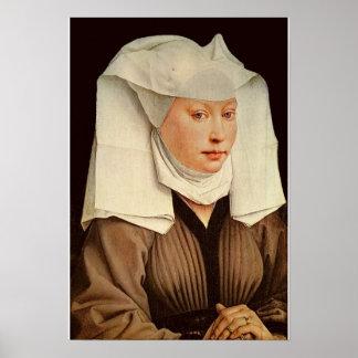 Retrato de una mujer joven en un gorra fijado, c.1 impresiones