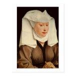 Retrato de una mujer joven en un gorra fijado, postal