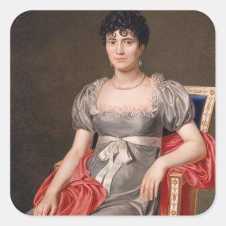 Retrato de una mujer joven Len de tres cuartos Pegatina Cuadrada