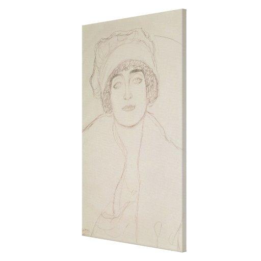 Retrato de una mujer joven lona envuelta para galerías