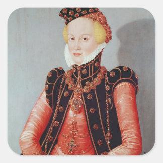 Retrato de una mujer joven pegatina cuadrada