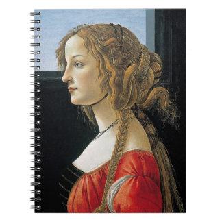 Retrato de una mujer joven por Botticelli Libretas Espirales