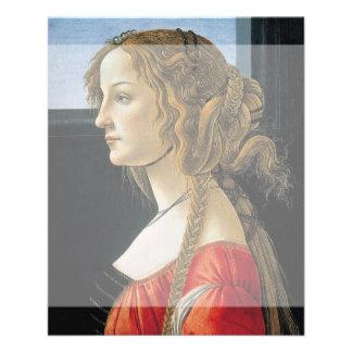 Retrato de una mujer joven por Botticelli Tarjetón