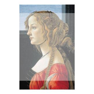 Retrato de una mujer joven por Botticelli Tarjeta Publicitaria