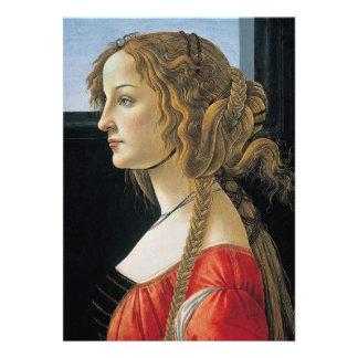 Retrato de una mujer joven por Botticelli Invitacion Personalizada