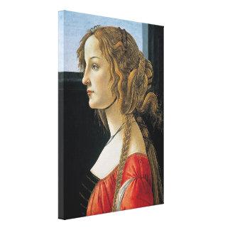 Retrato de una mujer joven por Botticelli Impresión En Lienzo Estirada