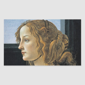 Retrato de una mujer joven por Botticelli Pegatina Rectangular