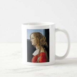 Retrato de una mujer joven por Botticelli Taza