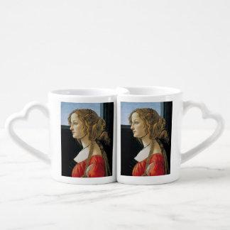 Retrato de una mujer joven por Botticelli Tazas Amorosas