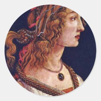 Retrato de una mujer joven (Simonetta Vespuci?) Pegatina Redonda