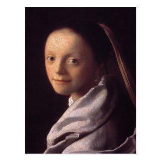 Retrato de una mujer joven tarjeta postal
