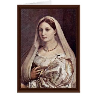 Retrato de una mujer (La Velata) por Raffael Tarjeta De Felicitación