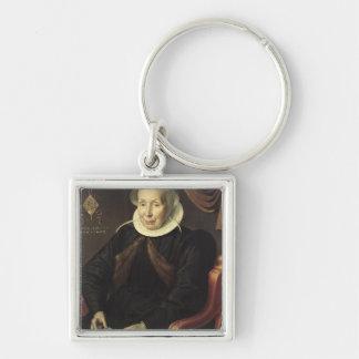 Retrato de una mujer mayor, 1603 llavero cuadrado plateado