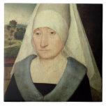 Retrato de una mujer mayor (aceite en el panel) azulejo cuadrado grande