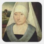 Retrato de una mujer mayor (aceite en el panel) pegatina cuadrada