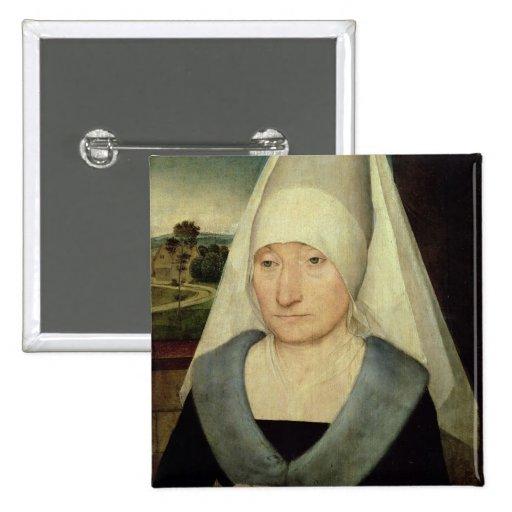 Retrato de una mujer mayor (aceite en el panel) pin cuadrado