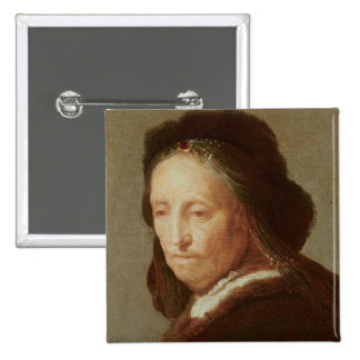 Retrato de una mujer mayor, c.1600-1700 pin cuadrada 5 cm