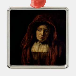 Retrato de una mujer mayor adorno cuadrado plateado