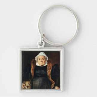 Retrato de una mujer mayor llavero cuadrado plateado
