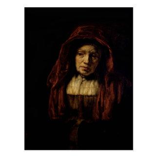 Retrato de una mujer mayor postal