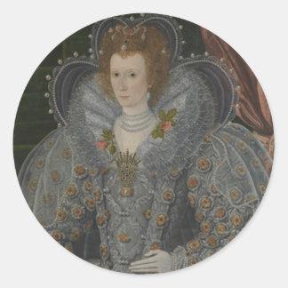 Retrato de una mujer noble pegatina redonda