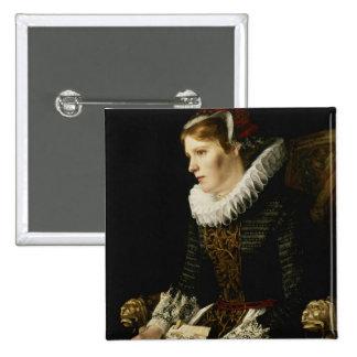 Retrato de una mujer noble pin cuadrada 5 cm