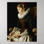 Retrato de una mujer noble póster