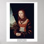 Retrato de una mujer por Lucas Cranach (i) Posters