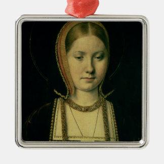 Retrato de una mujer, posiblemente Catherine de Adorno Navideño Cuadrado De Metal