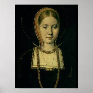 Retrato de una mujer, posiblemente Catherine de Ar Poster
