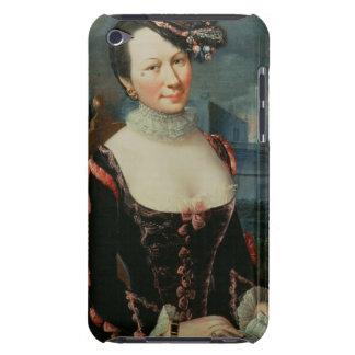 Retrato de una mujer que lleva a cabo una partitur iPod touch cárcasa