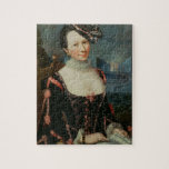 Retrato de una mujer que lleva a cabo una partitur rompecabezas