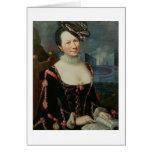 Retrato de una mujer que lleva a cabo una partitur felicitaciones