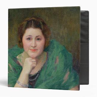 """Retrato de una mujer rusa con una bufanda verde carpeta 1 1/2"""""""